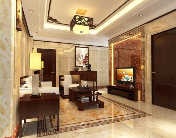 中式客厅瓷砖效果图