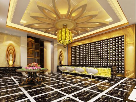 欧式大堂黑金花瓷砖装修效果图