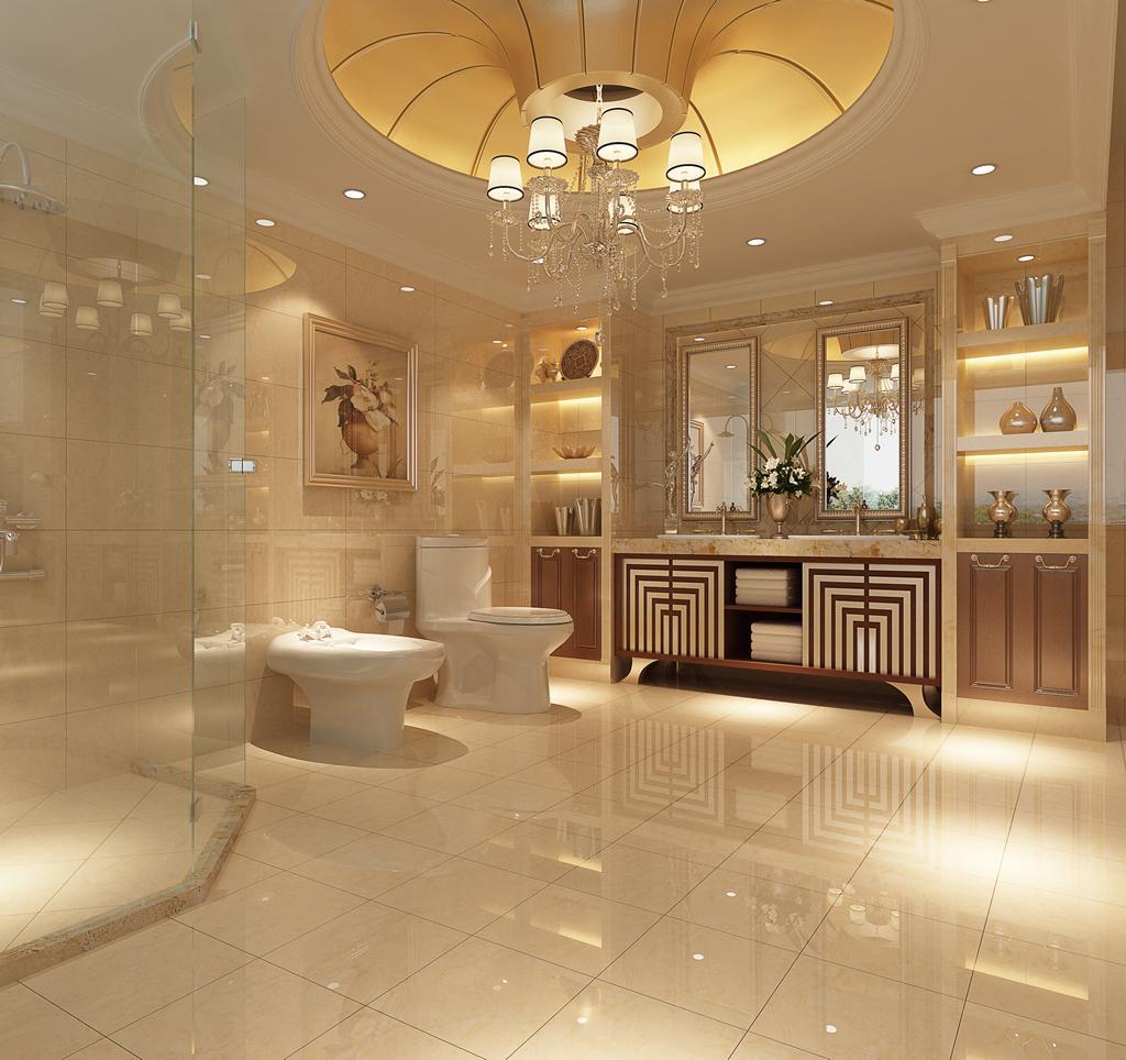 >欧式卫浴雅利安米黄瓷砖装修效果图