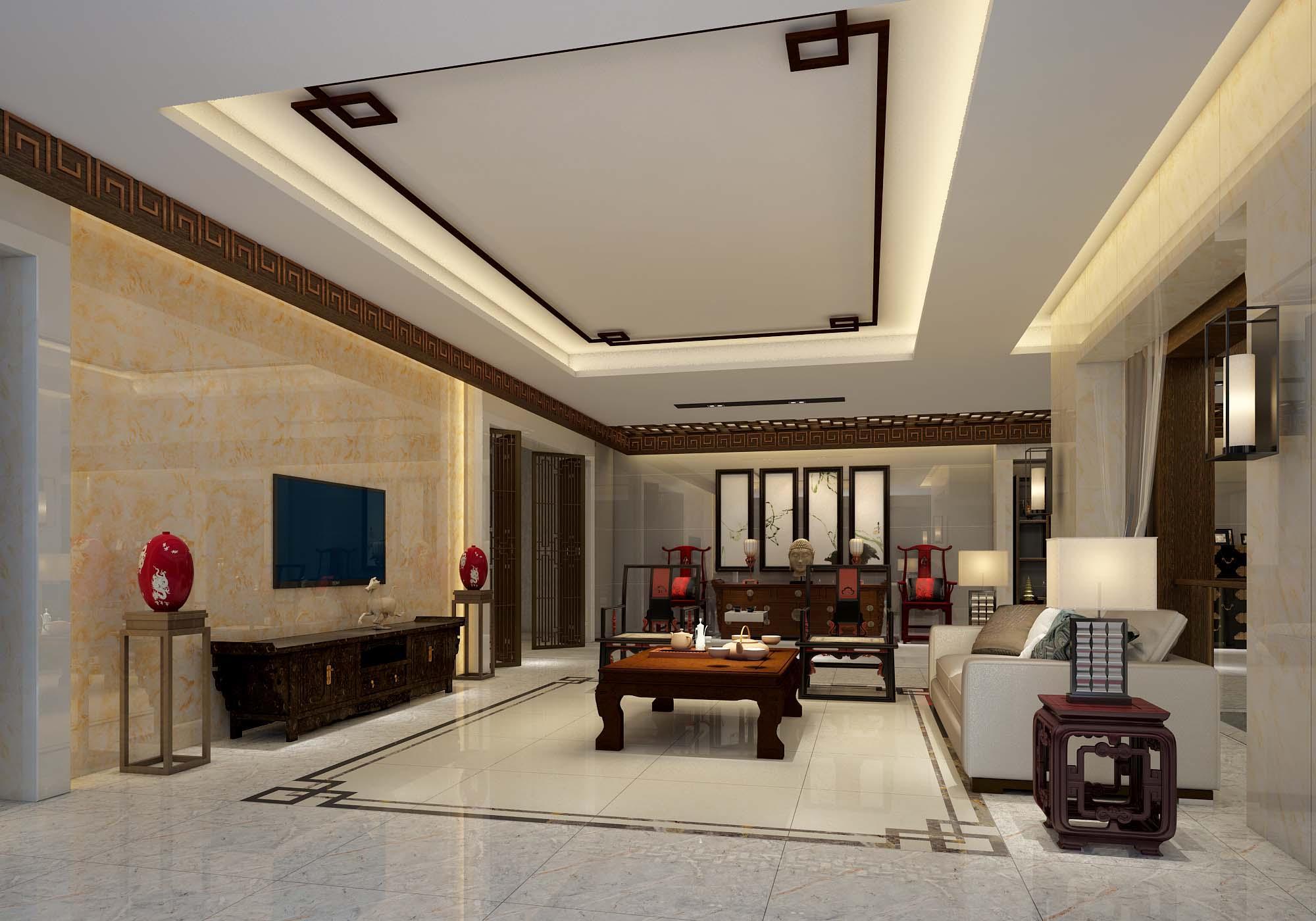中式客厅瓷砖装修-欧神诺装修效果图