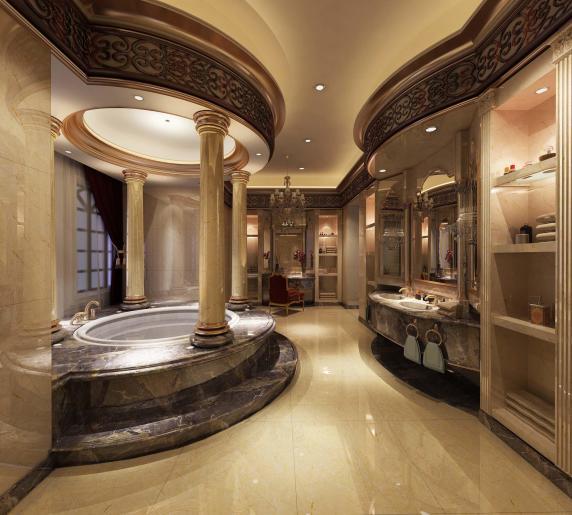 欧式豪华卫生间瓷砖装修效果图