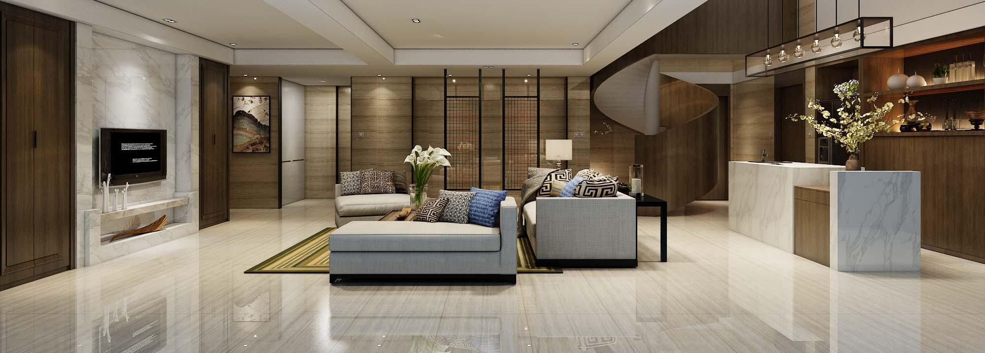 新中式 瓷磚 客廳裝修效果圖