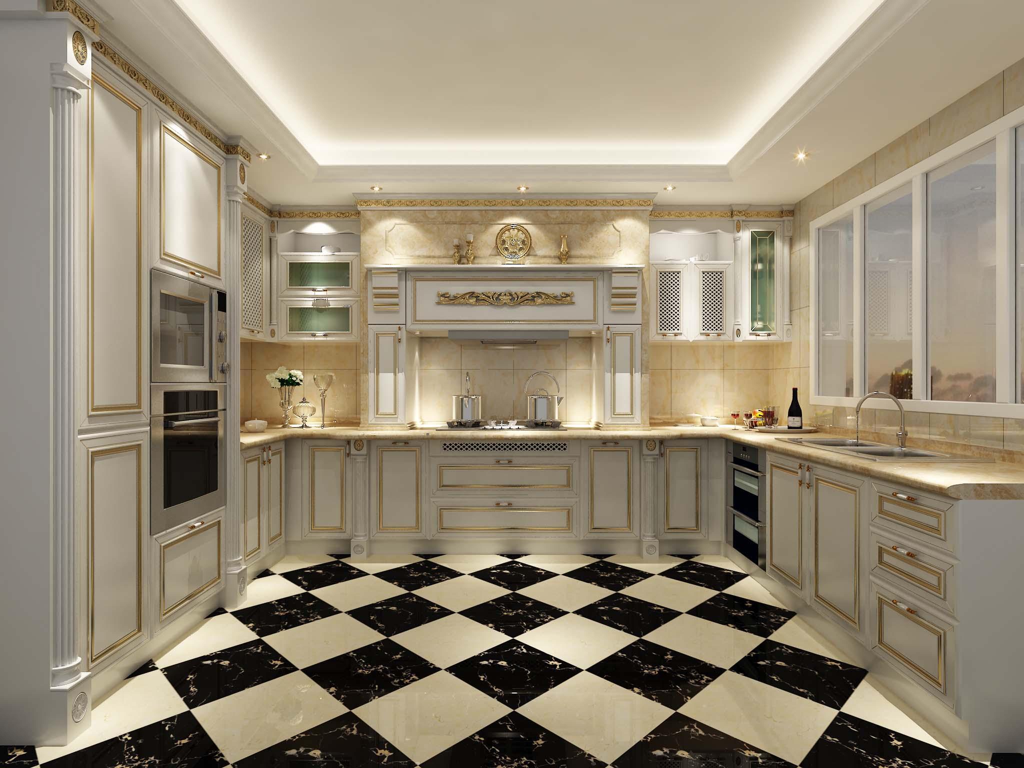 现代厨房大户型瓷砖贴图-欧神诺装修效果图
