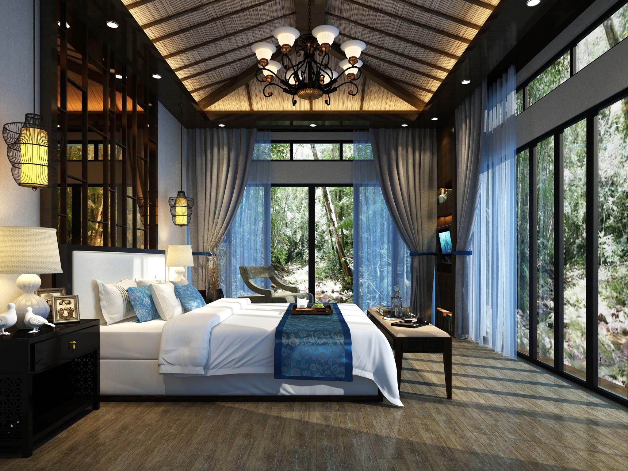 中式臥室瓷磚裝修效果圖