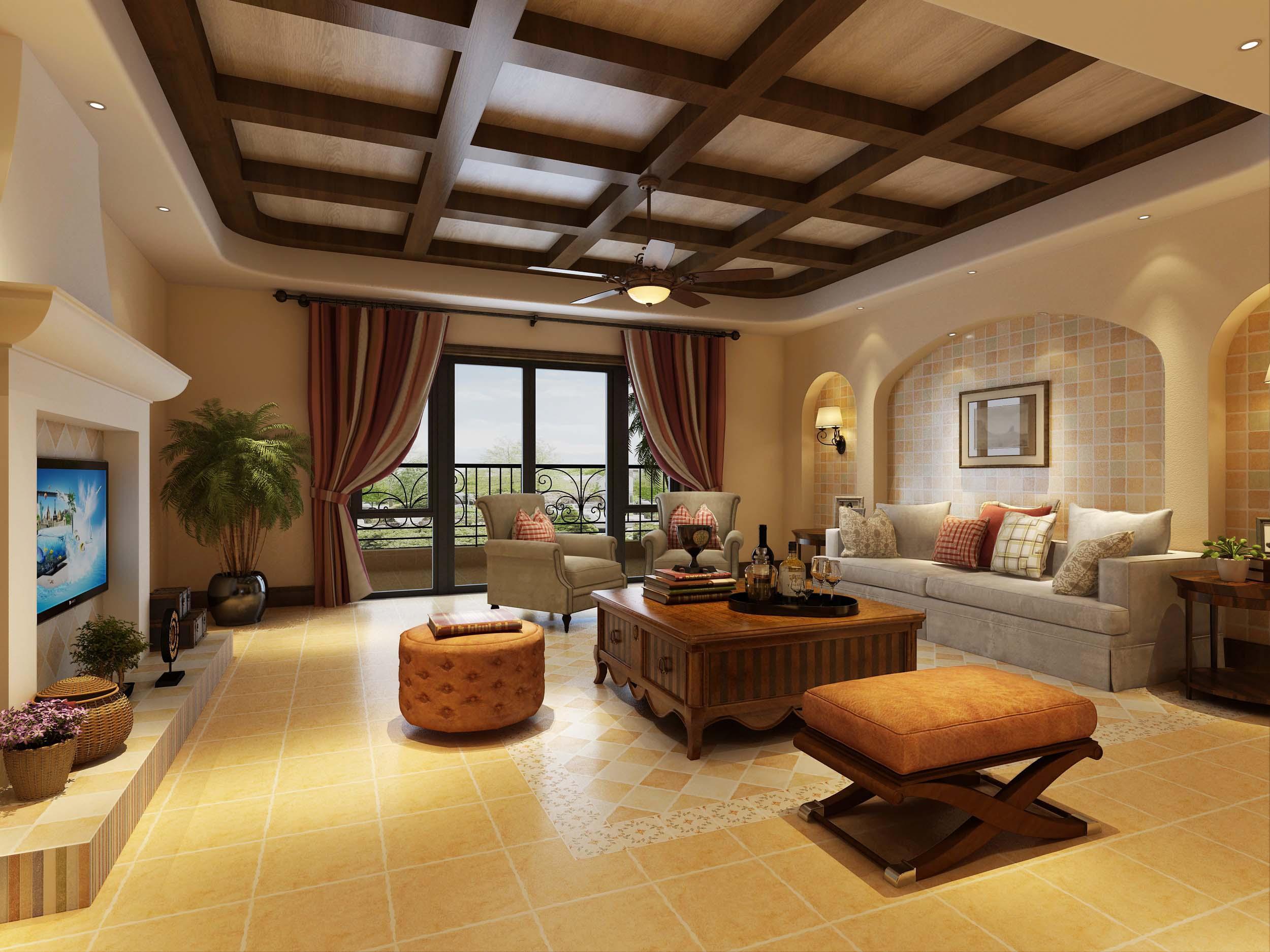 >美式客厅瓷砖装修效果图图片