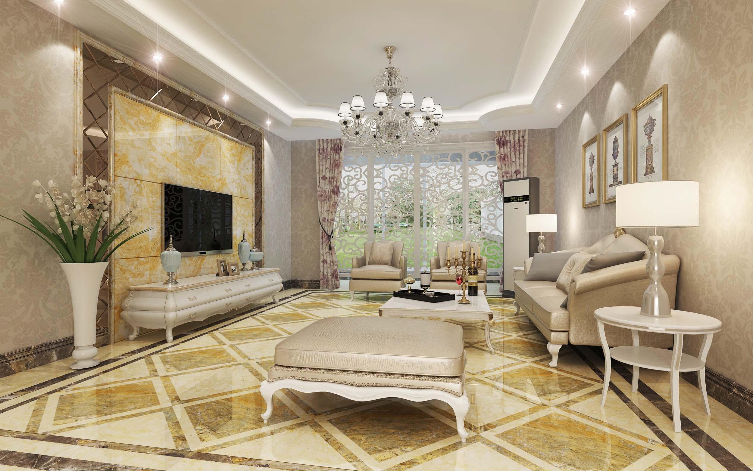 欧式客厅瓷砖装修效果图图片
