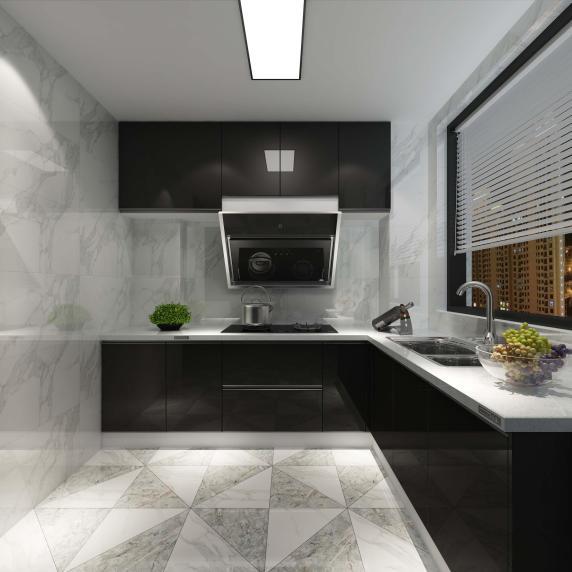 后现代厨房瓷砖装修效果图