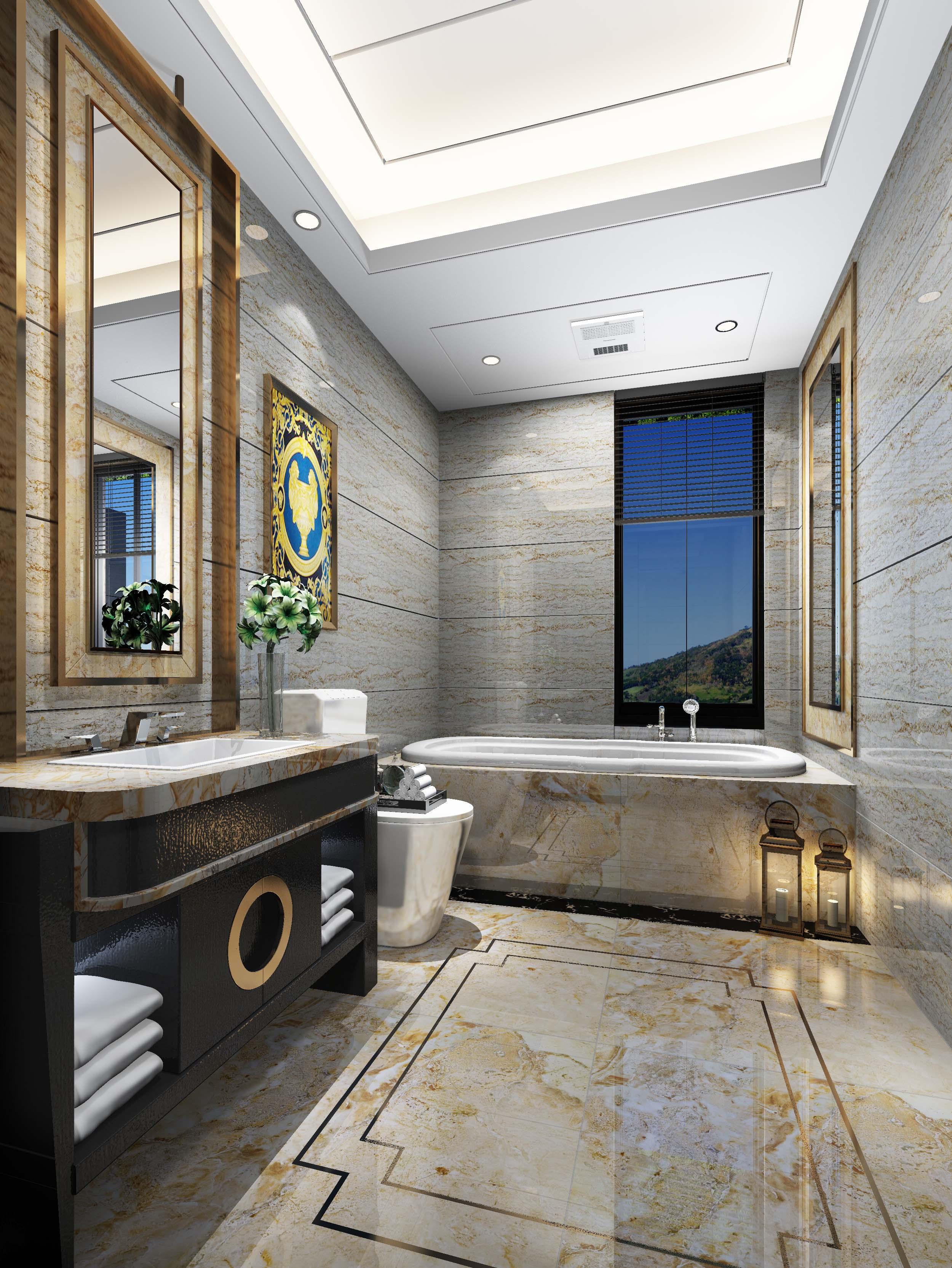>中式卫浴瓷砖装修效果图