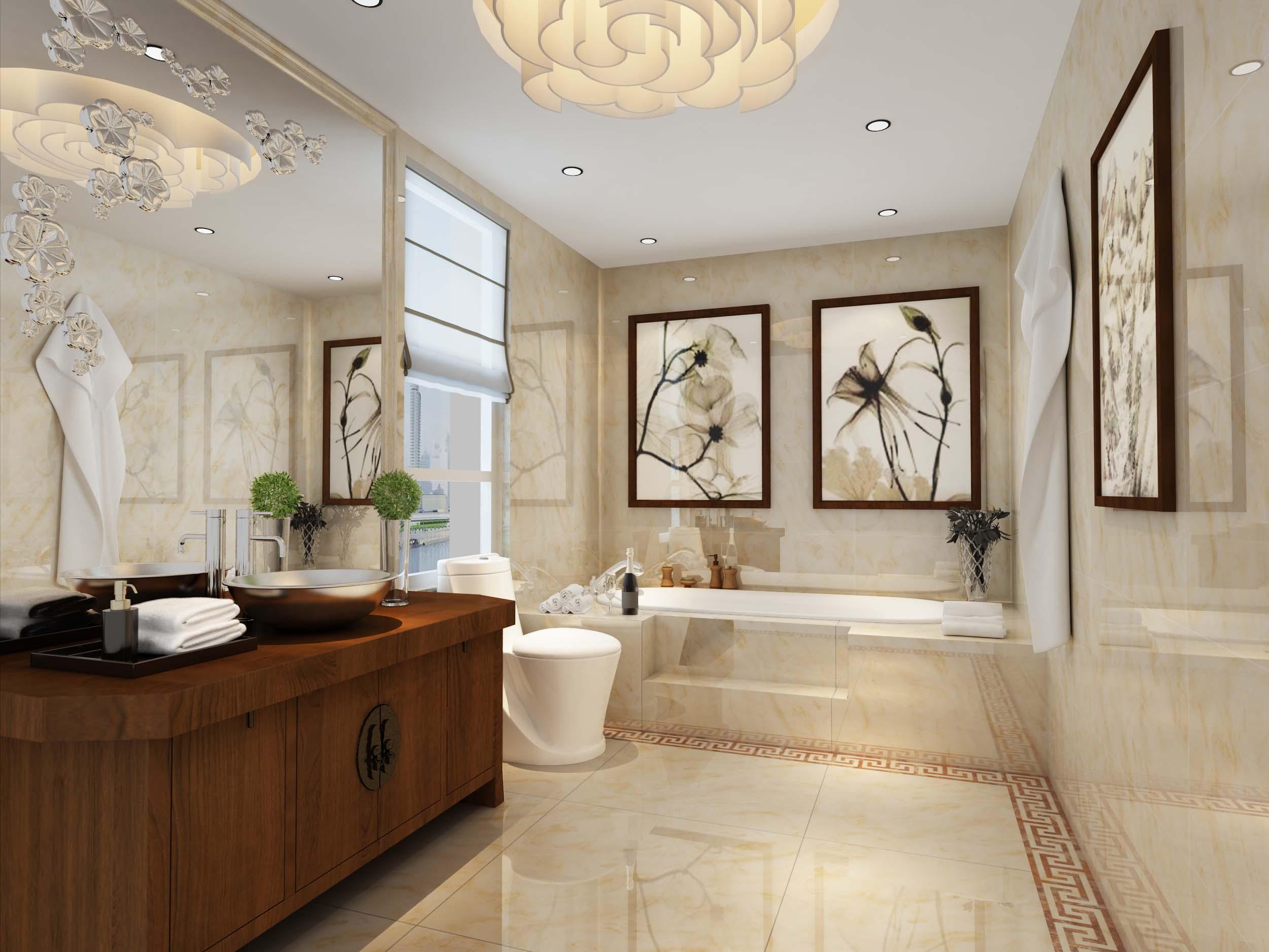中式衛浴瓷磚裝修效果圖