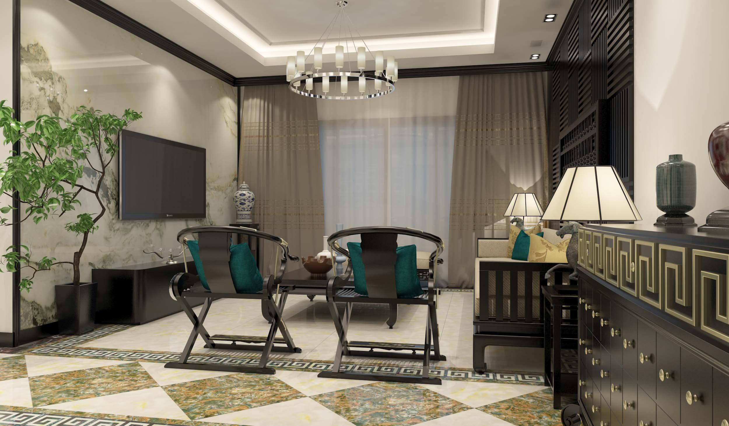 新中式 瓷磚 客廳裝修效果圖2015