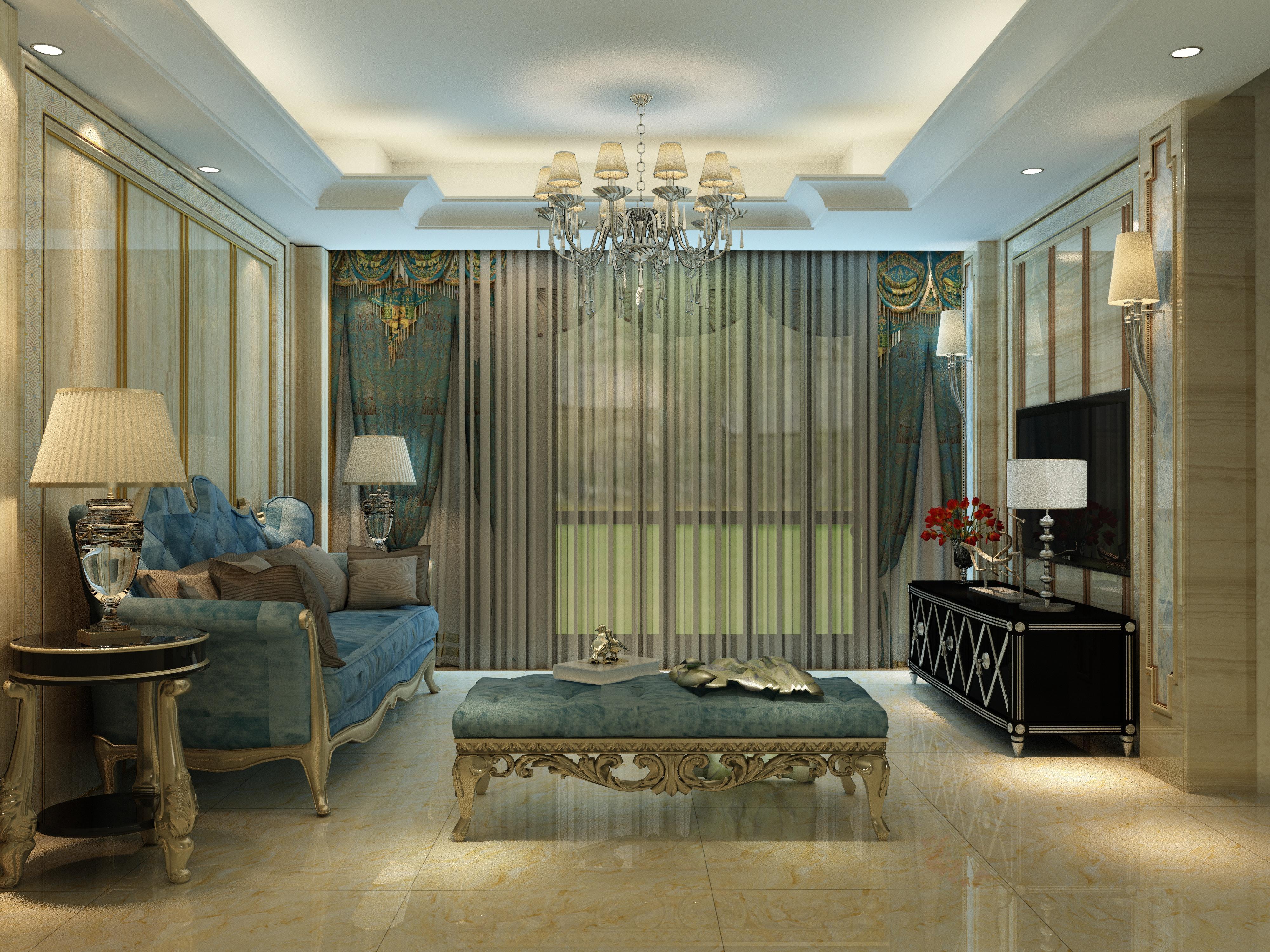 >欧式客厅瓷砖装修效果图图片