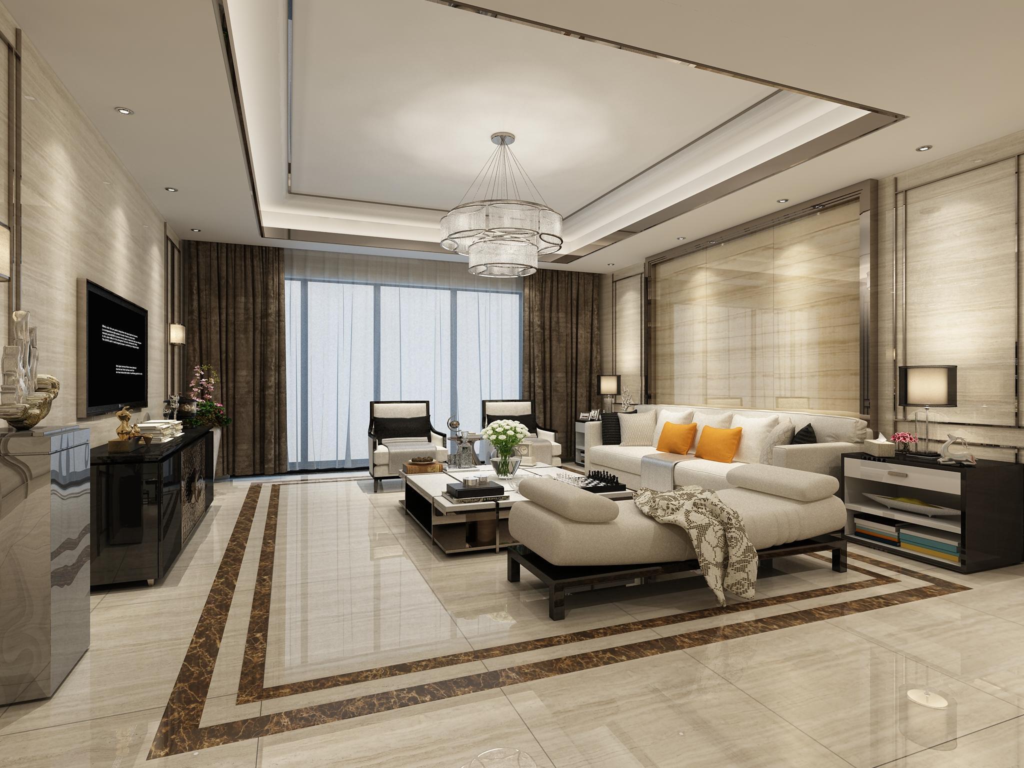 >现代客厅瓷砖装修效果图图片