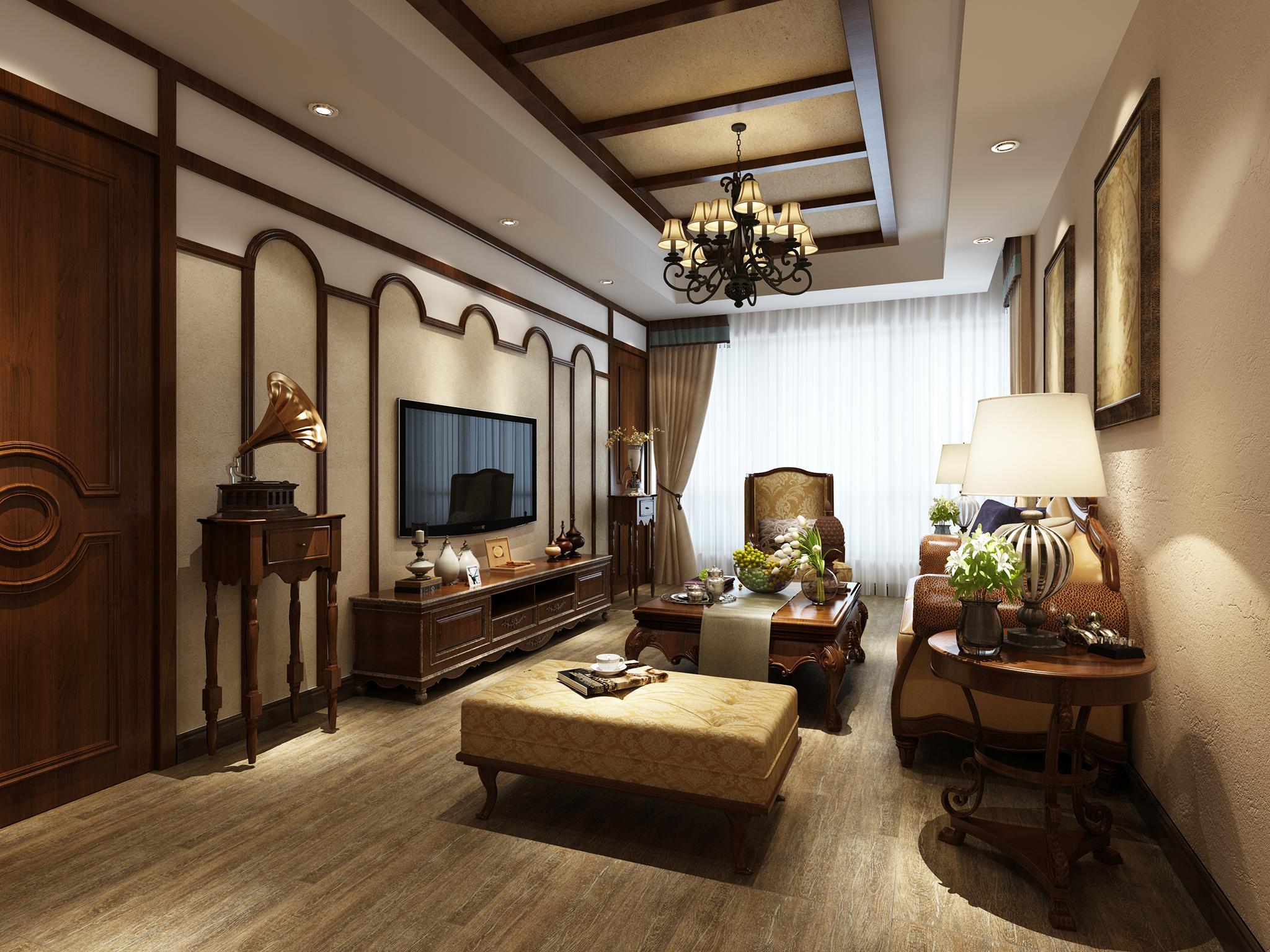 >美式客厅印度黑檀仿古亚光砖装修图