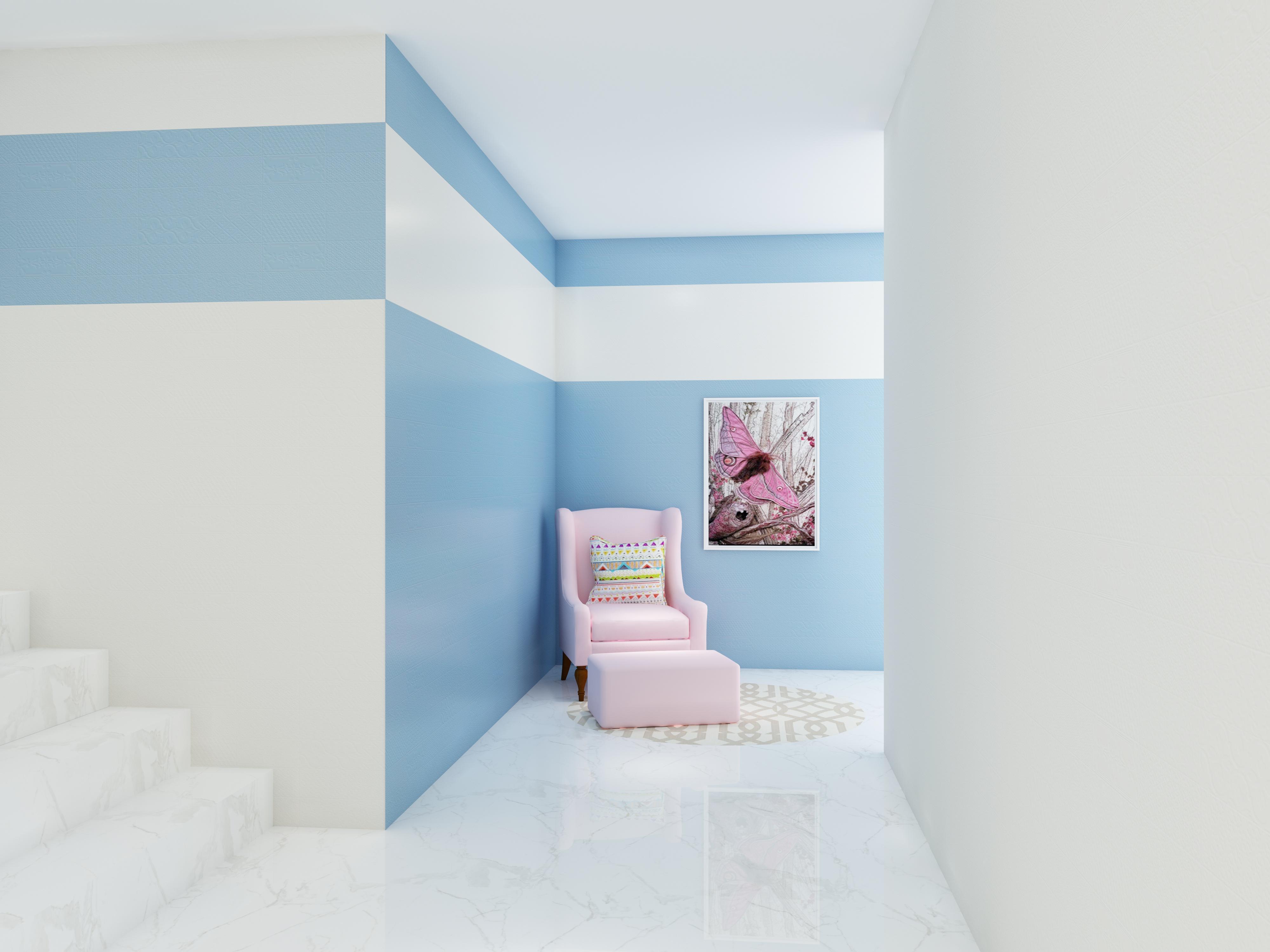 現代簡約走廊水晶藍釉面瓷片裝修圖
