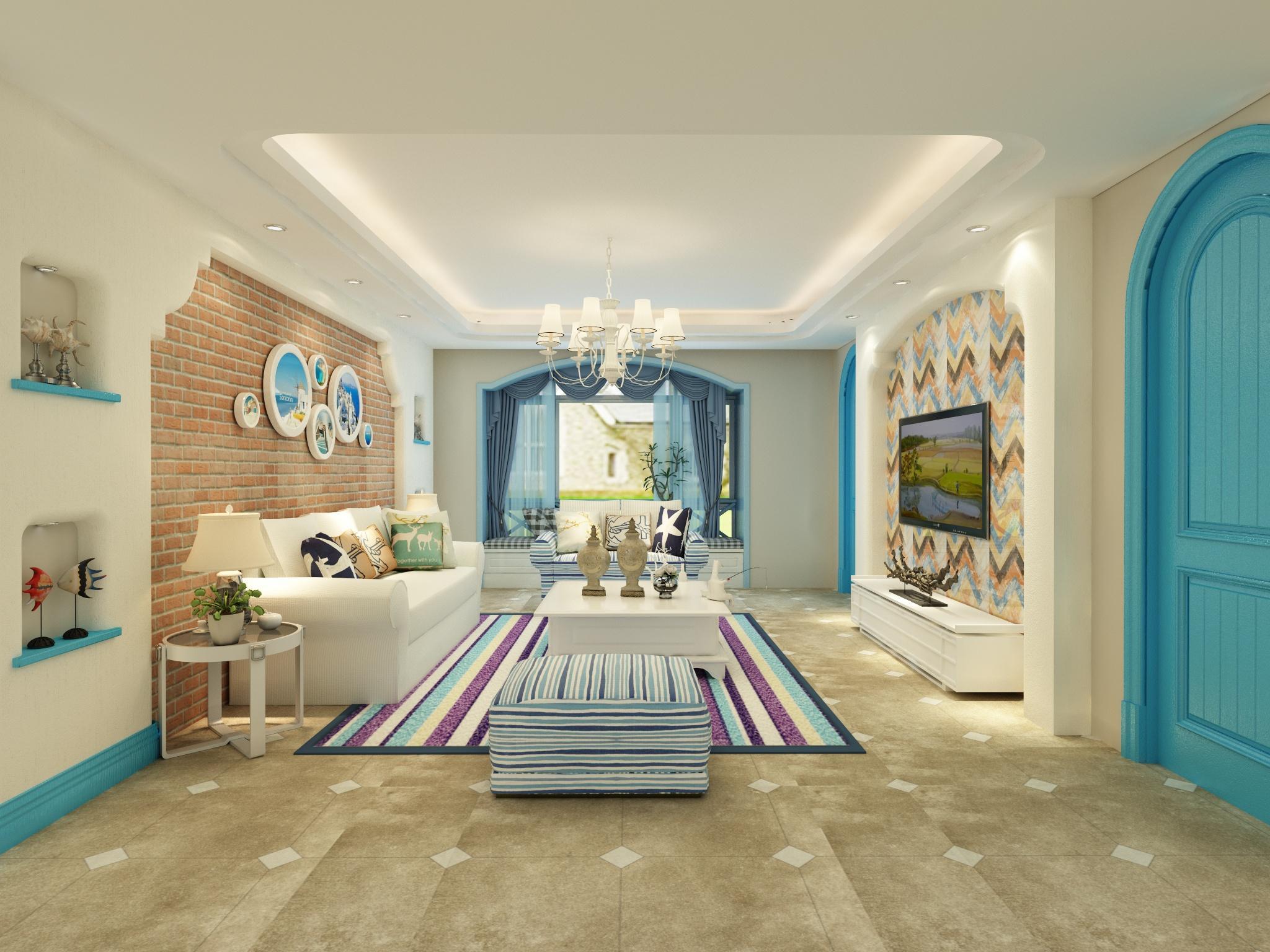 地中海客廳水泥磚2代花片裝修圖