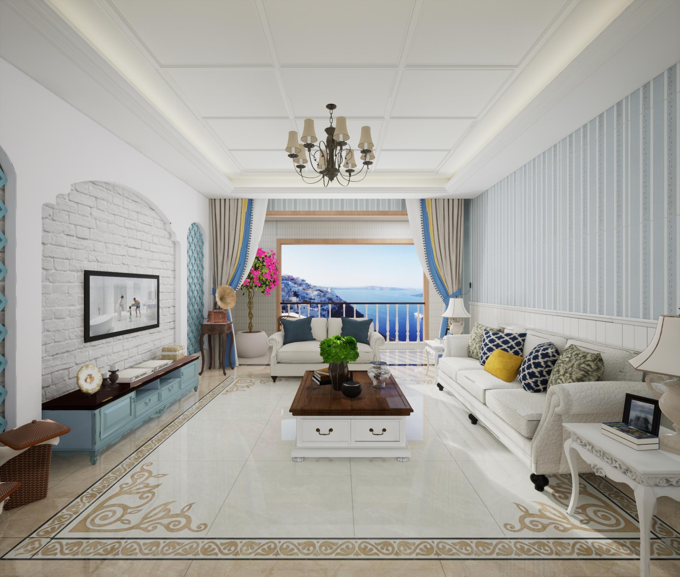 海信彩虹谷-C户型地中海客厅