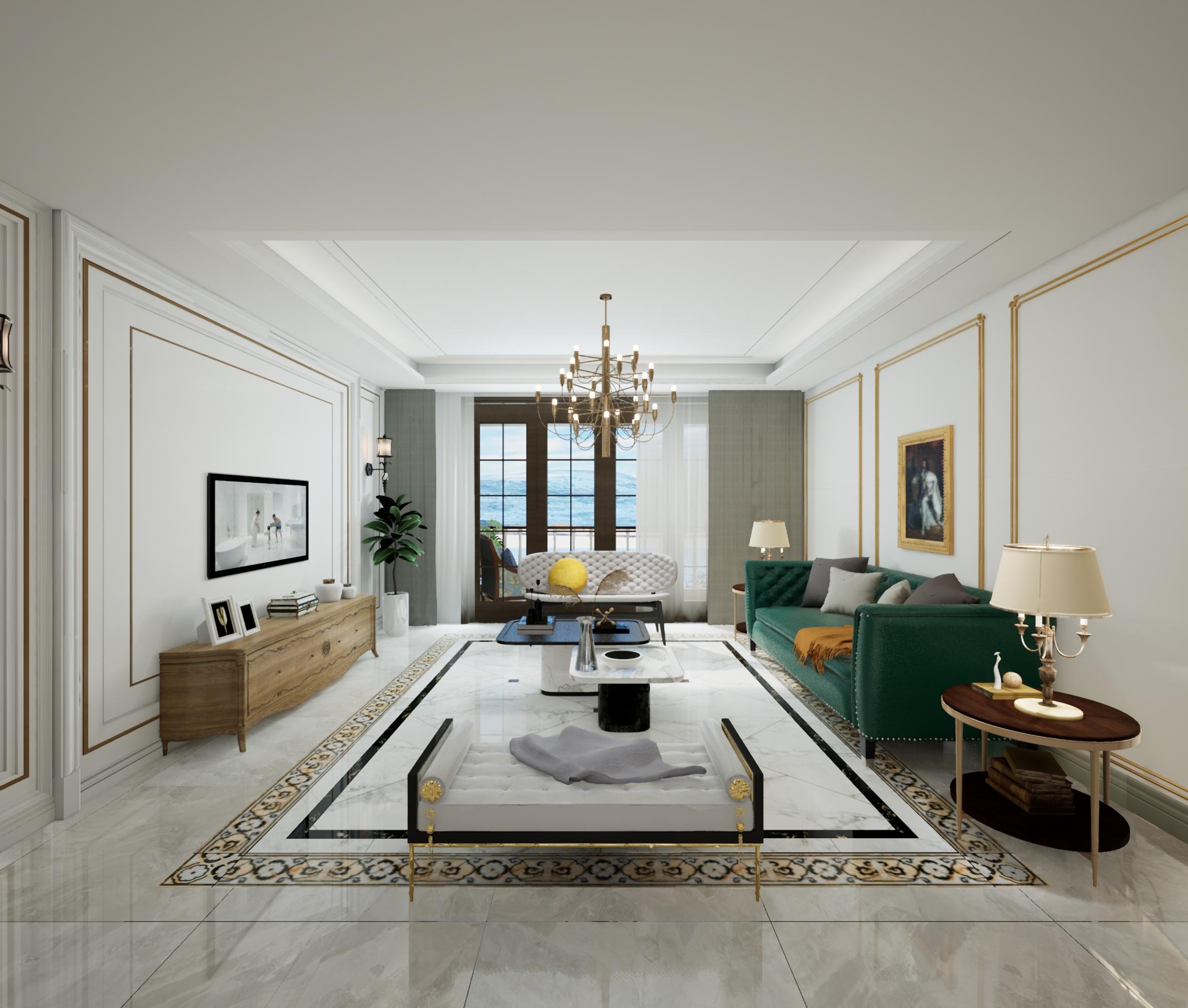 博观熙岸-C1户型美式客厅